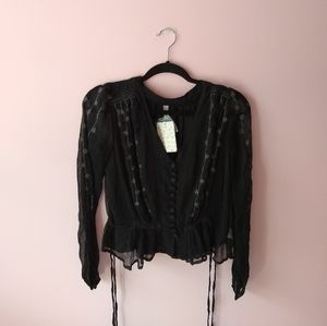 NWT black embroidered free people peplum top